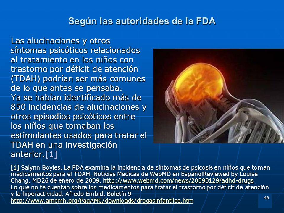 48 Según las autoridades de la FDA Las alucinaciones y otros síntomas psicóticos relacionados al tratamiento en los niños con trastorno por déficit de