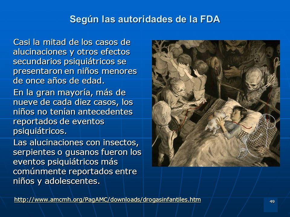 49 Según las autoridades de la FDA Casi la mitad de los casos de alucinaciones y otros efectos secundarios psiquiátricos se presentaron en niños menor