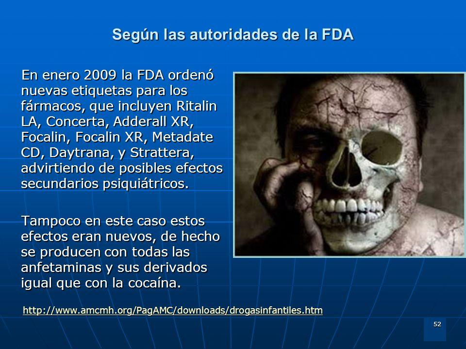 52 Según las autoridades de la FDA En enero 2009 la FDA ordenó nuevas etiquetas para los fármacos, que incluyen Ritalin LA, Concerta, Adderall XR, Foc