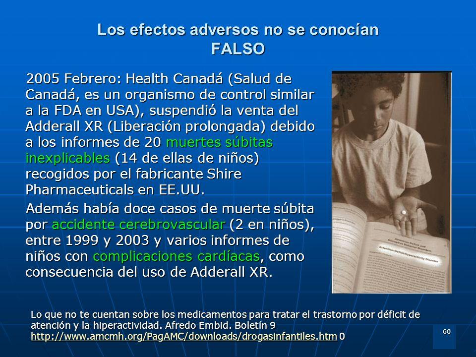60 Los efectos adversos no se conocían FALSO 2005 Febrero: Health Canadá (Salud de Canadá, es un organismo de control similar a la FDA en USA), suspen