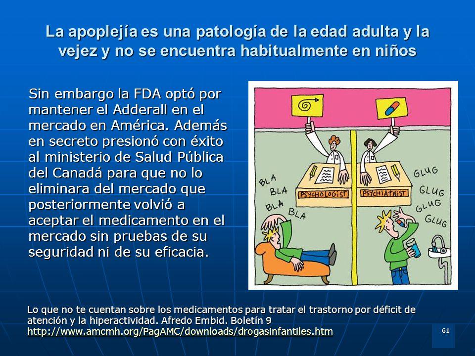 61 La apoplejía es una patología de la edad adulta y la vejez y no se encuentra habitualmente en niños Sin embargo la FDA optó por mantener el Adderal