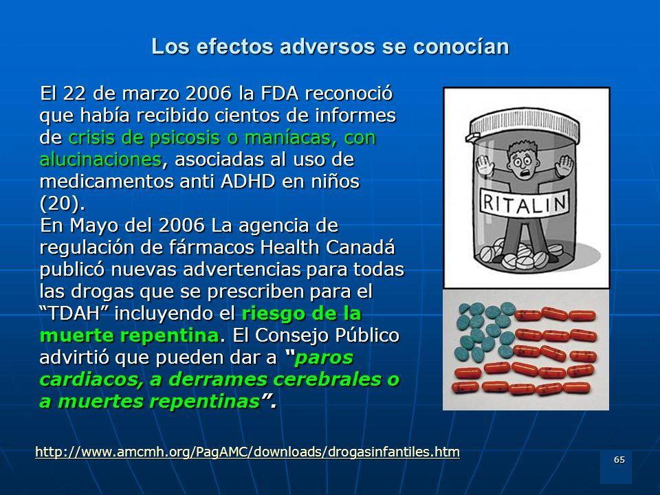 65 Los efectos adversos se conocían El 22 de marzo 2006 la FDA reconoció que había recibido cientos de informes de crisis de psicosis o maníacas, con