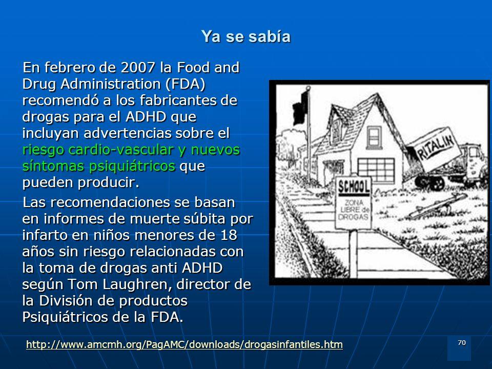 70 Ya se sabía En febrero de 2007 la Food and Drug Administration (FDA) recomendó a los fabricantes de drogas para el ADHD que incluyan advertencias s