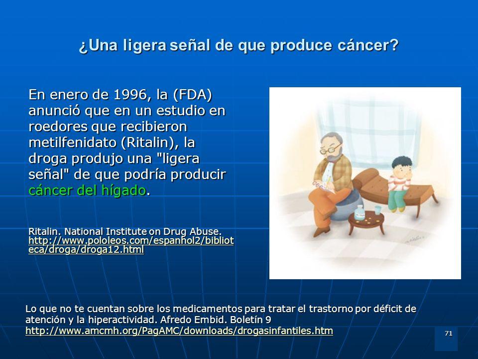 71 ¿Una ligera señal de que produce cáncer? En enero de 1996, la (FDA) anunció que en un estudio en roedores que recibieron metilfenidato (Ritalin), l