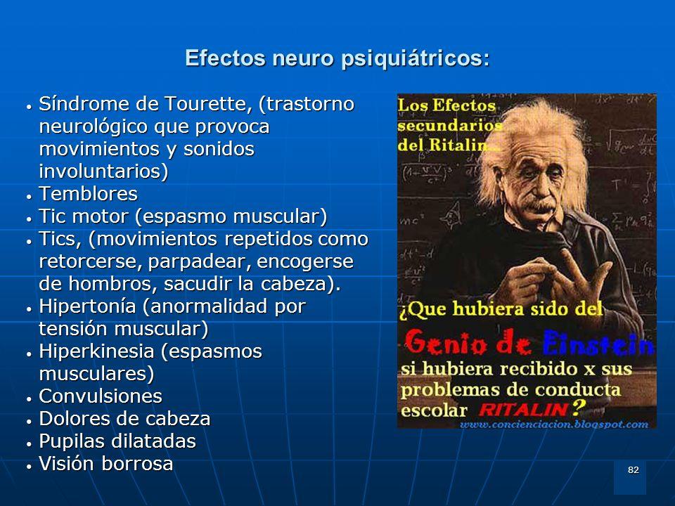 82 Efectos neuro psiquiátricos: Síndrome de Tourette, (trastorno neurológico que provoca movimientos y sonidos involuntarios) Síndrome de Tourette, (t
