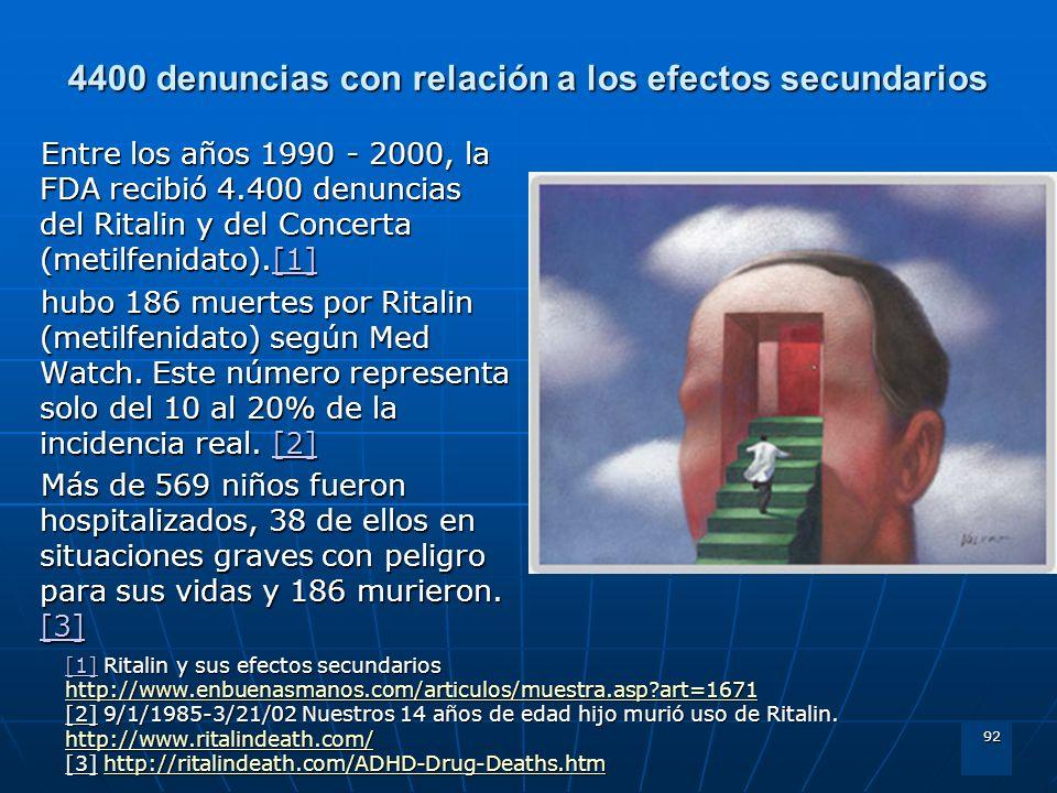 92 4400 denuncias con relación a los efectos secundarios Entre los años 1990 - 2000, la FDA recibió 4.400 denuncias del Ritalin y del Concerta (metilf