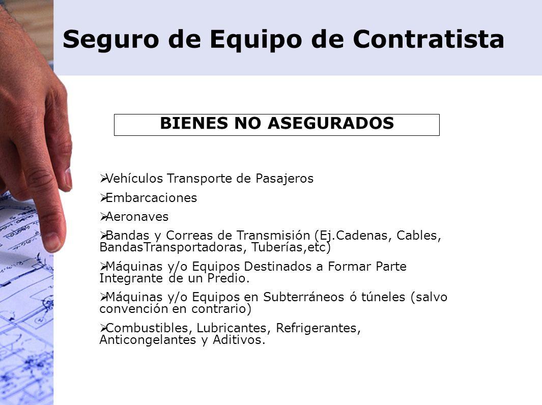 Seguro de Equipo de Contratista BIENES NO ASEGURADOS Vehículos Transporte de Pasajeros Embarcaciones Aeronaves Bandas y Correas de Transmisión (Ej.Cad