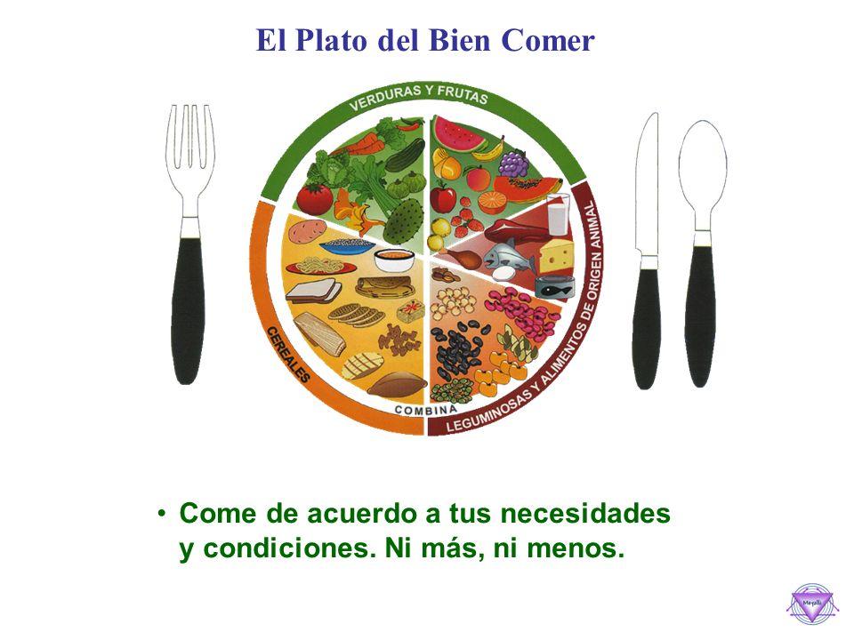 El Plato del Bien Comer Come de acuerdo a tus necesidades y condiciones. Ni más, ni menos.