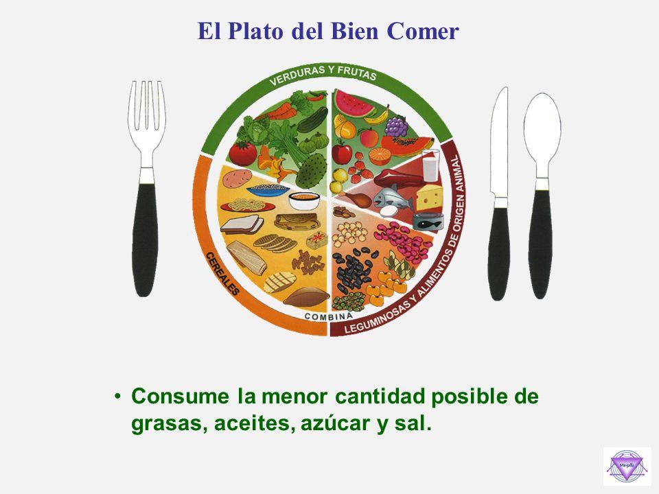 El Plato del Bien Comer Consume la menor cantidad posible de grasas, aceites, azúcar y sal.
