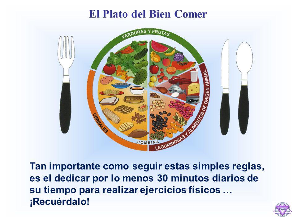 El Plato del Bien Comer Tan importante como seguir estas simples reglas, es el dedicar por lo menos 30 minutos diarios de su tiempo para realizar ejercicios físicos … ¡Recuérdalo!