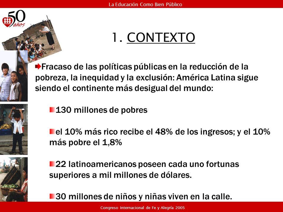 1. CONTEXTO Fracaso de las políticas públicas en la reducción de la pobreza, la inequidad y la exclusión: América Latina sigue siendo el continente má