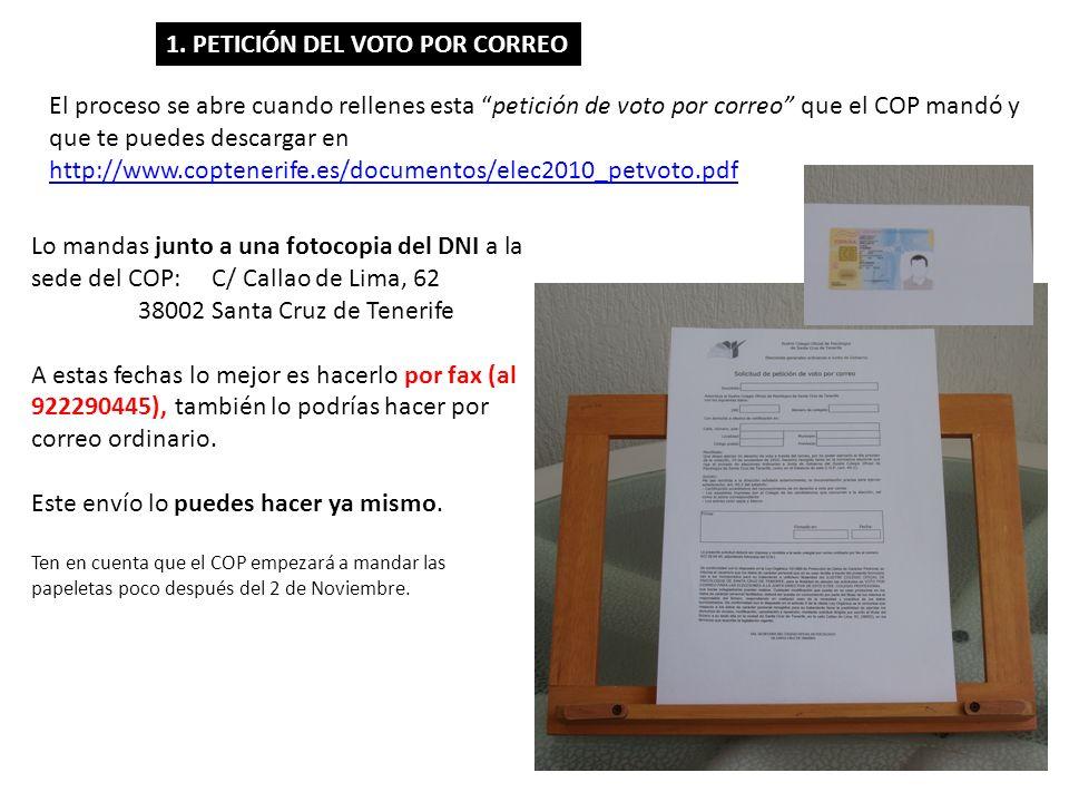 Lo mandas junto a una fotocopia del DNI a la sede del COP: C/ Callao de Lima, 62 38002 Santa Cruz de Tenerife A estas fechas lo mejor es hacerlo por f
