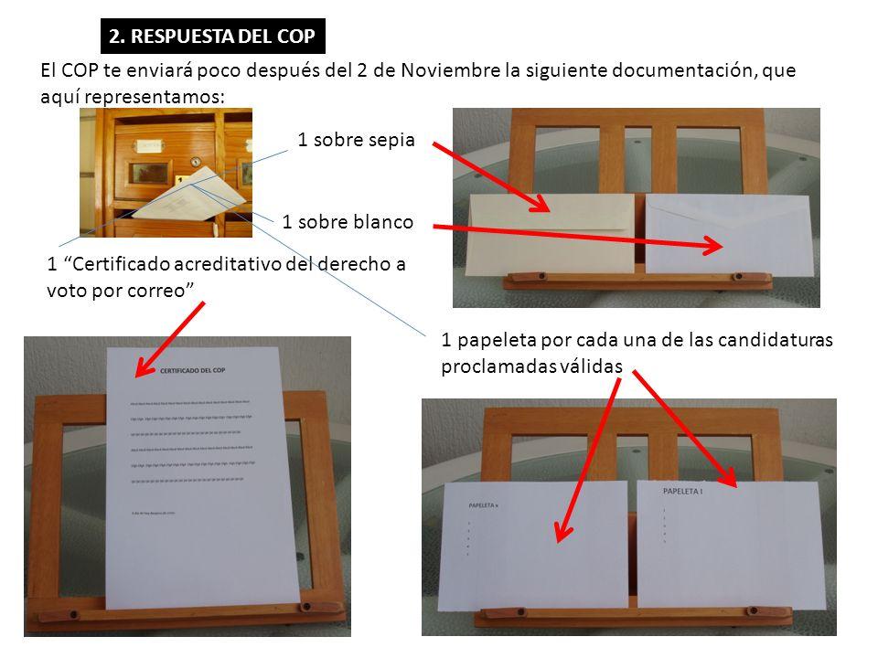 2. RESPUESTA DEL COP El COP te enviará poco después del 2 de Noviembre la siguiente documentación, que aquí representamos: 1 sobre sepia 1 sobre blanc