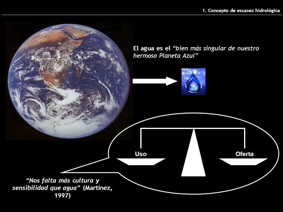 El agua es el bien más singular de nuestro hermoso Planeta Azul Nos falta más cultura y sensibilidad que agua (Martínez, 1997) UsoOferta 1.