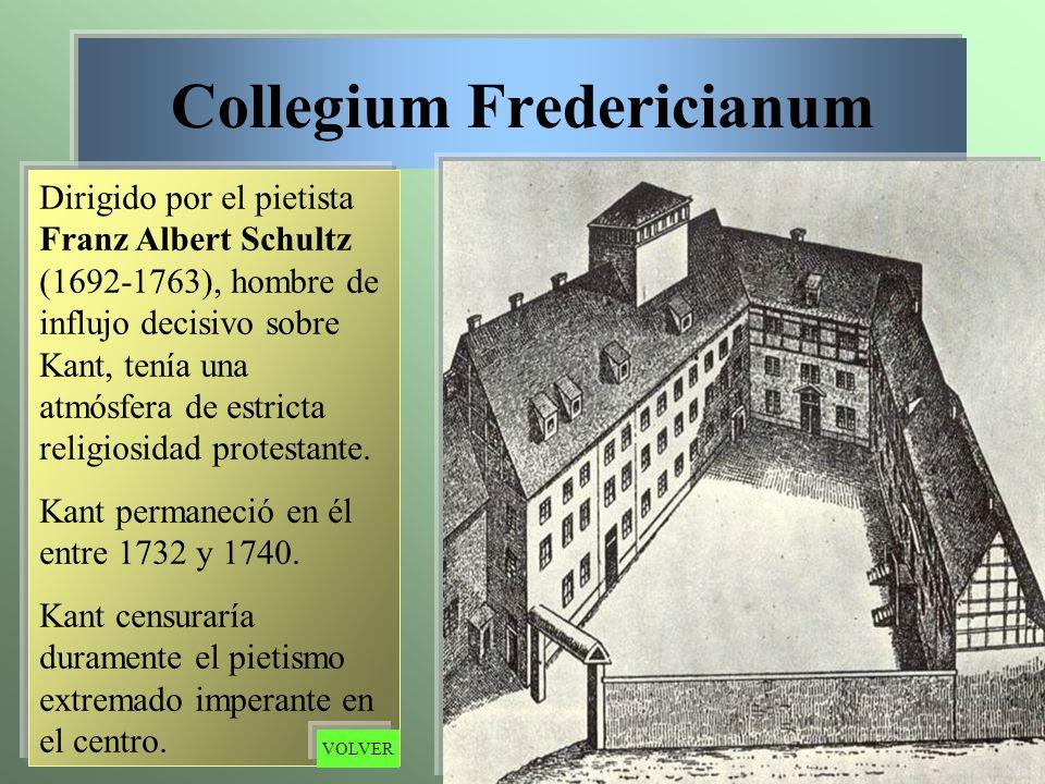 Collegium Fredericianum Dirigido por el pietista Franz Albert Schultz (1692-1763), hombre de influjo decisivo sobre Kant, tenía una atmósfera de estri