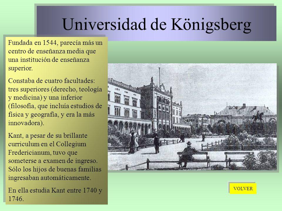 Universidad de Königsberg Universidad de Königsberg Fundada en 1544, parecía más un centro de enseñanza media que una institución de enseñanza superio
