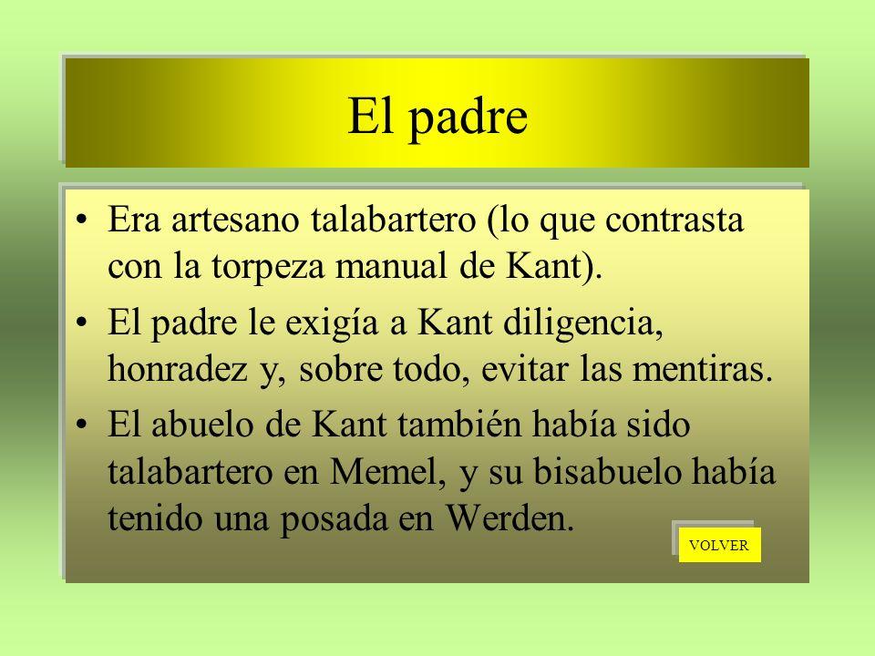 El padre Era artesano talabartero (lo que contrasta con la torpeza manual de Kant). El padre le exigía a Kant diligencia, honradez y, sobre todo, evit