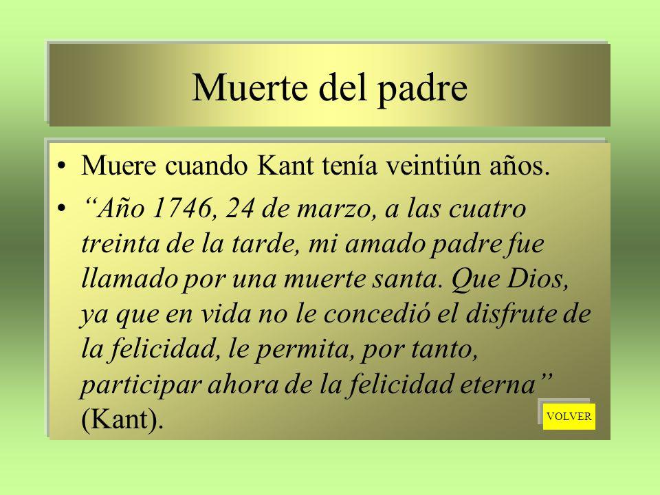 Muerte del padre Muere cuando Kant tenía veintiún años. Año 1746, 24 de marzo, a las cuatro treinta de la tarde, mi amado padre fue llamado por una mu