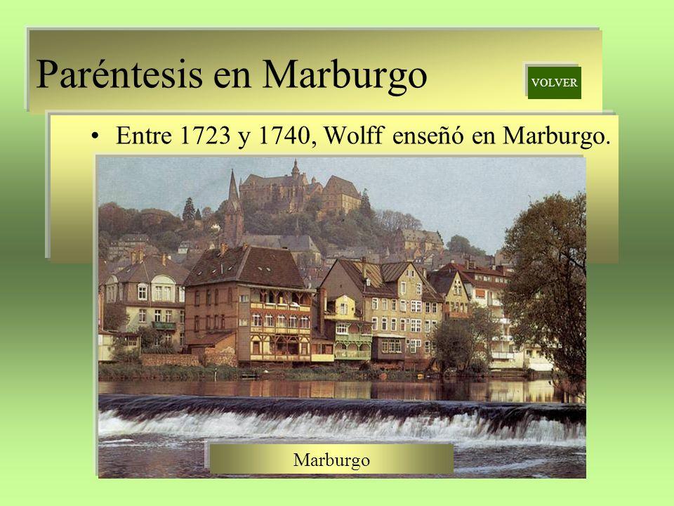 Paréntesis en Marburgo Entre 1723 y 1740, Wolff enseñó en Marburgo. VOLVER Marburgo