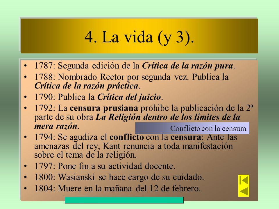 4. La vida (y 3). 1787: Segunda edición de la Crítica de la razón pura. 1788: Nombrado Rector por segunda vez. Publica la Crítica de la razón práctica