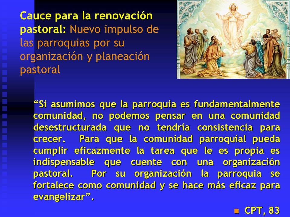 Cauce para la renovación pastoral: Nuevo impulso de las parroquias por su organización y planeación pastoral Si asumimos que la parroquia es fundament