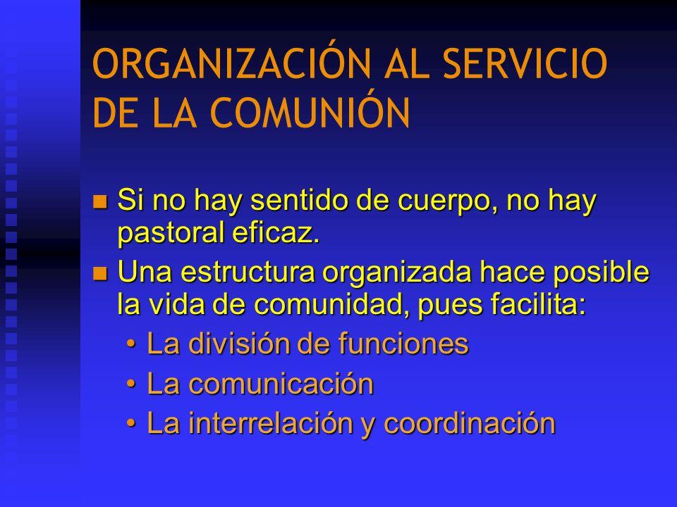 ORGANIZACIÓN AL SERVICIO DE LA COMUNIÓN Si no hay sentido de cuerpo, no hay pastoral eficaz. Si no hay sentido de cuerpo, no hay pastoral eficaz. Una