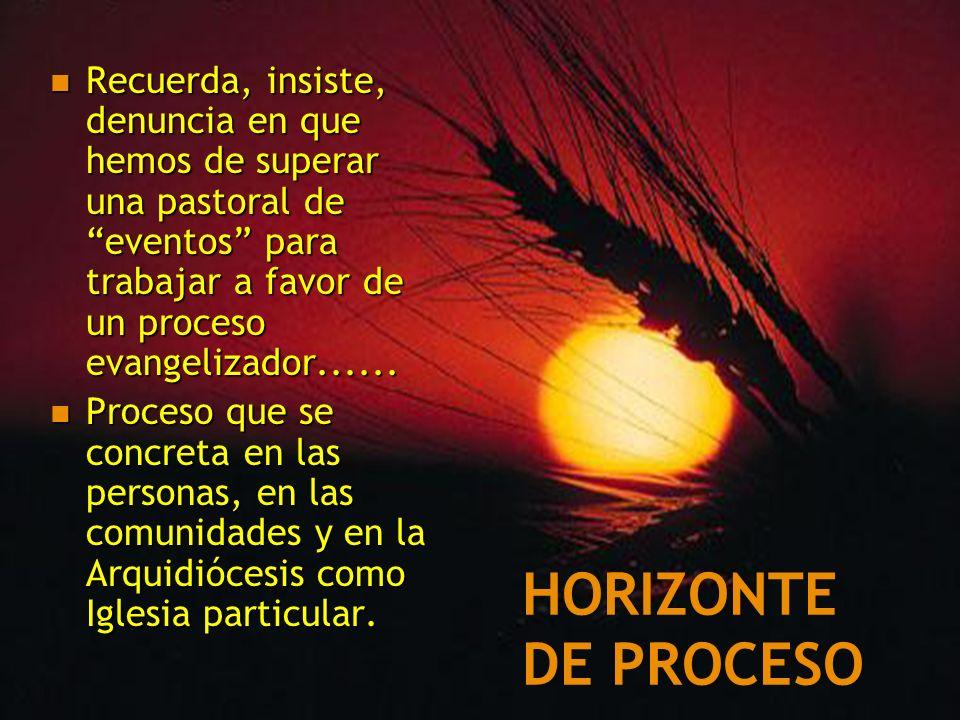 HORIZONTE DE PROCESO Recuerda, insiste, denuncia en que hemos de superar una pastoral de eventos para trabajar a favor de un proceso evangelizador....