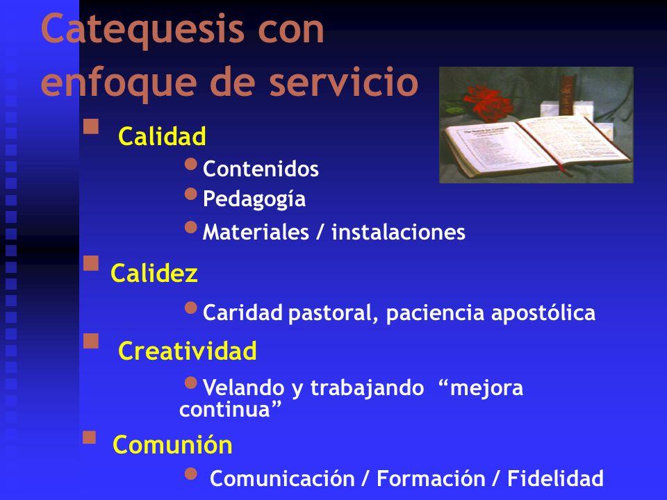 Catequesis con enfoque de servicio Calidad Contenidos Pedagogía Materiales / instalaciones Calidez Caridad pastoral, paciencia apostólica Creatividad