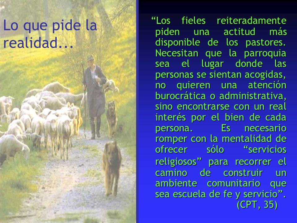 Los fieles reiteradamente piden una actitud más disponible de los pastores. Necesitan que la parroquia sea el lugar donde las personas se sientan acog
