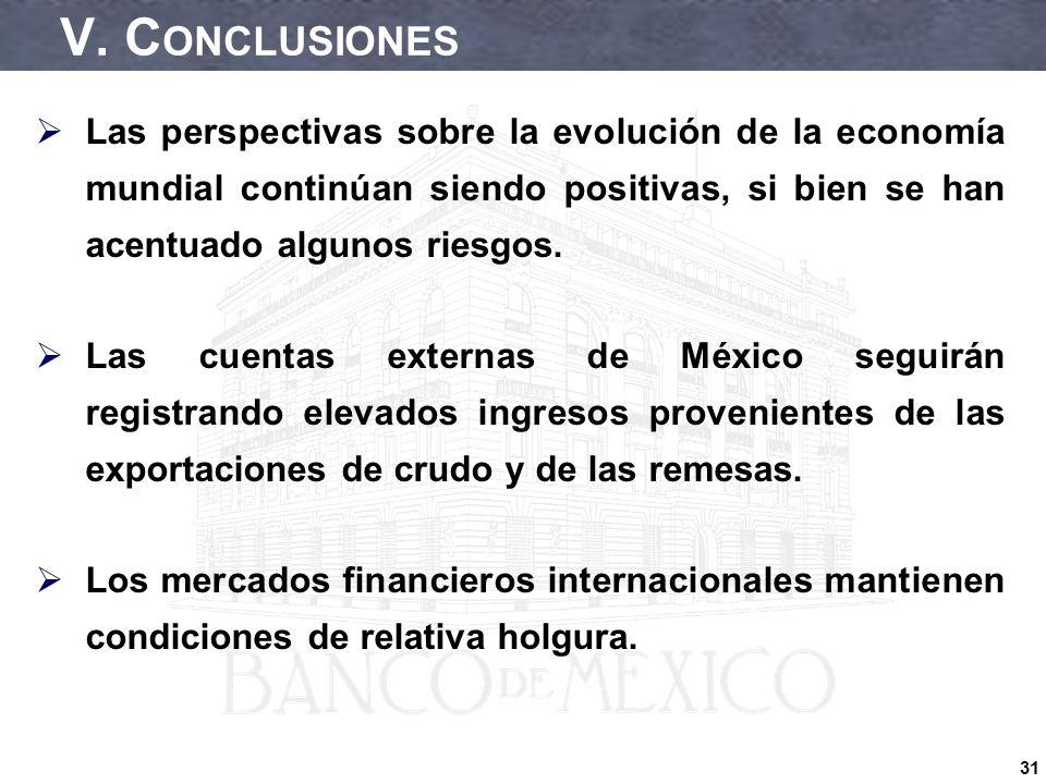 31 V. C ONCLUSIONES Las perspectivas sobre la evolución de la economía mundial continúan siendo positivas, si bien se han acentuado algunos riesgos. L
