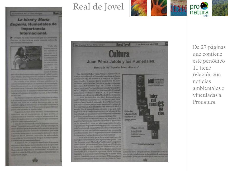 De 27 páginas que contiene este periódico 11 tiene relación con noticias ambientales o vinculadas a Pronatura