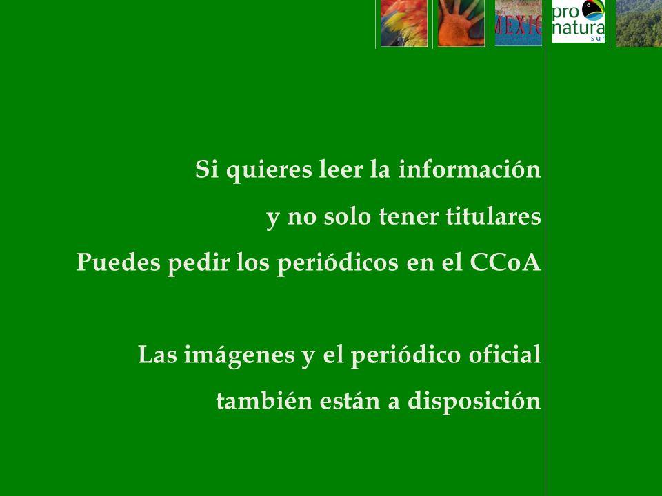 Si quieres leer la información y no solo tener titulares Puedes pedir los periódicos en el CCoA Las imágenes y el periódico oficial también están a disposición