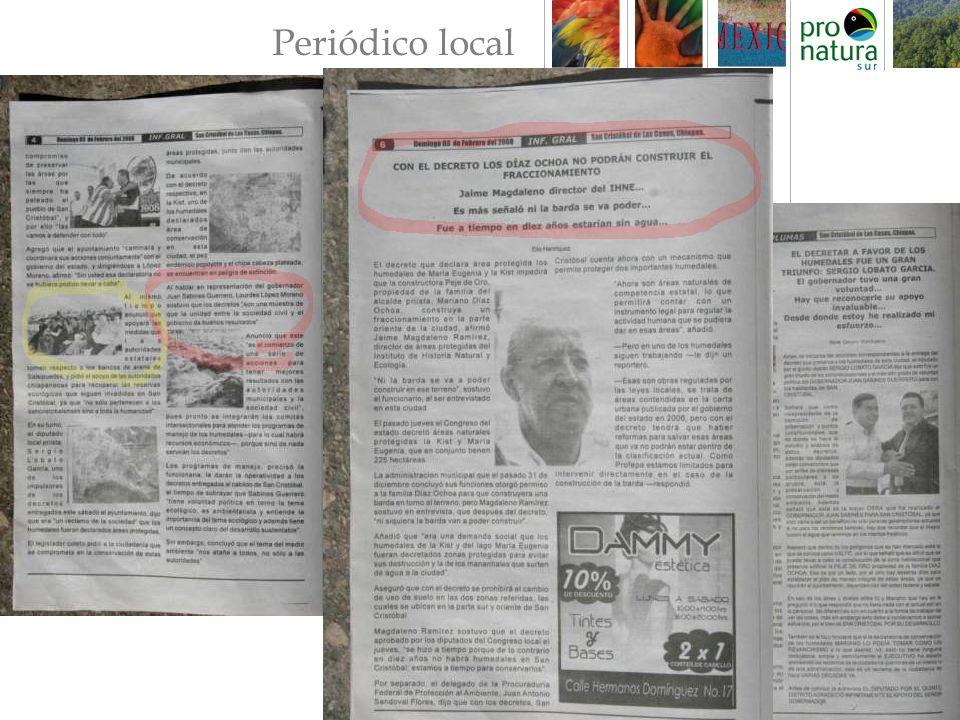 Periódico Estatal: Diario de Chiapas Diario Para el único periódico que no fue noticia de primera plana El gobierno del estado entreg ó decretos mediante los cuales los humedales se declaran Á reas Naturales Protegidas, los cuales cubren 225 hect á reas del valle.