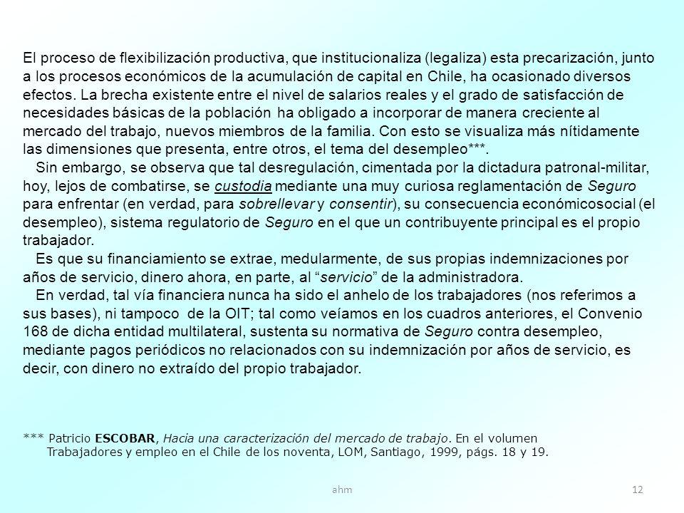 ahm12 El proceso de flexibilización productiva, que institucionaliza (legaliza) esta precarización, junto a los procesos económicos de la acumulación de capital en Chile, ha ocasionado diversos efectos.