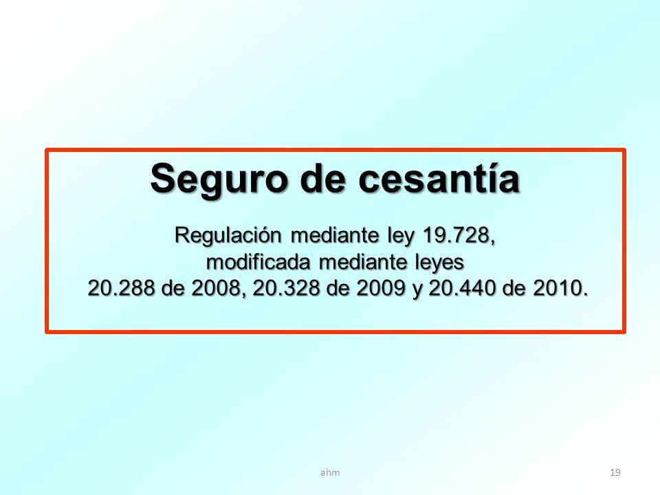 ahm19 Seguro de cesantía Regulación mediante ley 19.728, modificada mediante leyes 20.288 de 2008, 20.328 de 2009 y 20.440 de 2010.