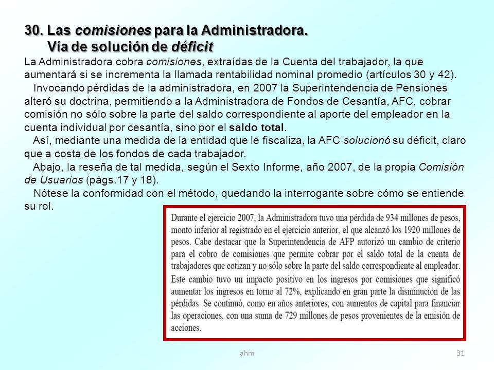 ahm31 30. Las comisiones para la Administradora.