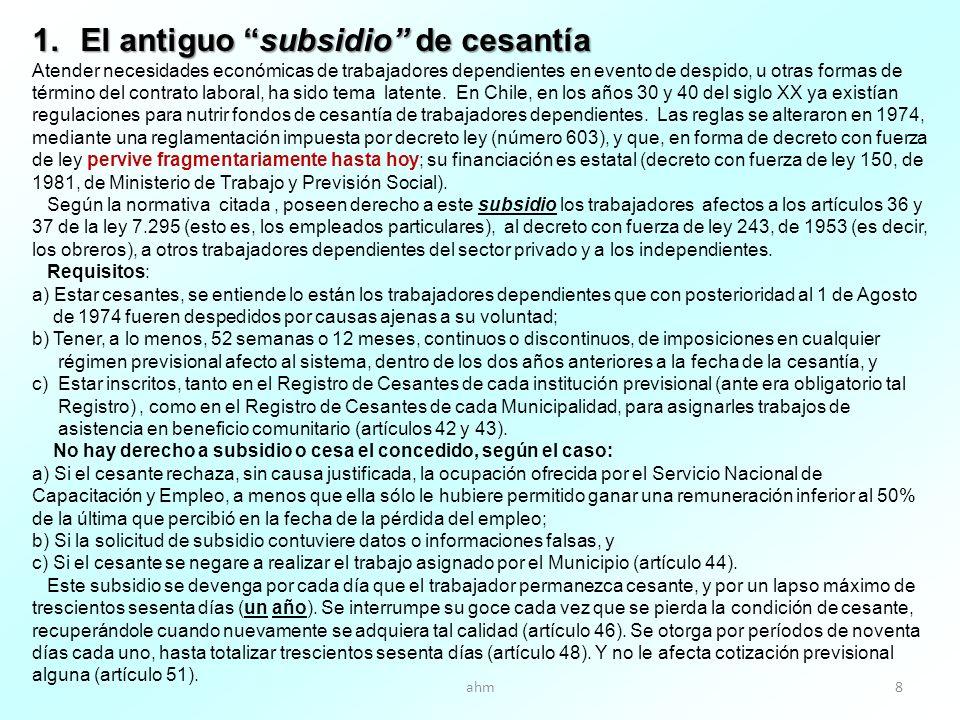 ahm8 1.El antiguo subsidio de cesantía Atender necesidades económicas de trabajadores dependientes en evento de despido, u otras formas de término del contrato laboral, ha sido tema latente.
