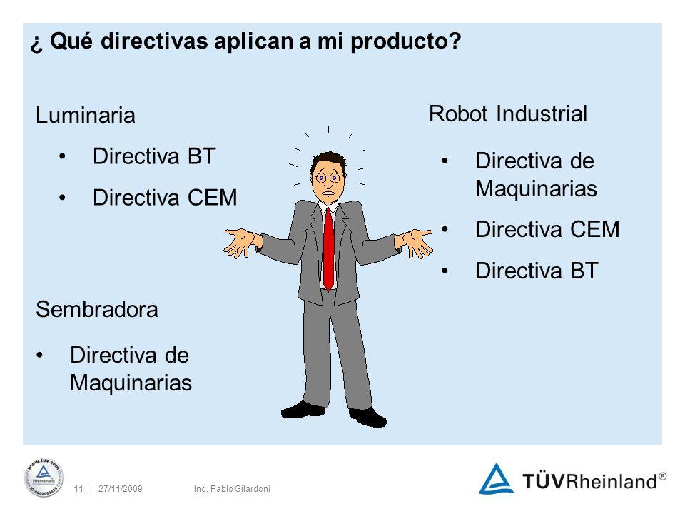 | 27/11/200911Ing. Pablo Gilardoni ¿ Qué directivas aplican a mi producto.