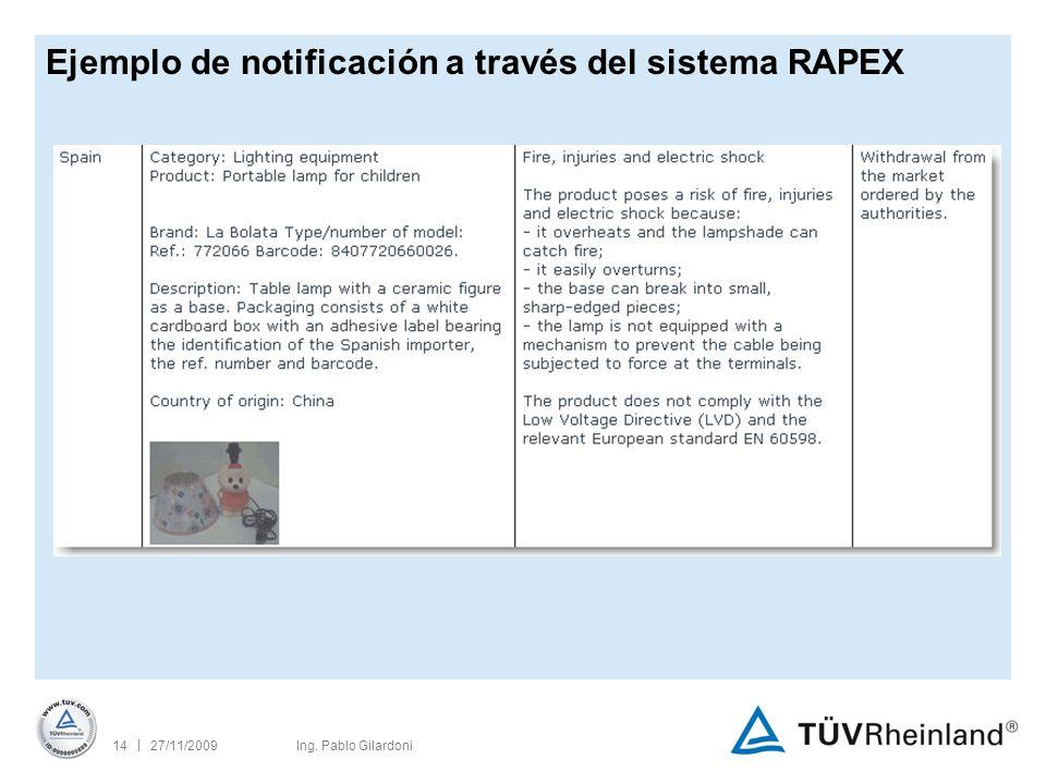 | 27/11/200914Ing. Pablo Gilardoni Ejemplo de notificación a través del sistema RAPEX