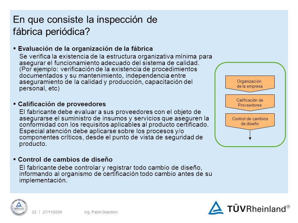 | 27/11/200923Ing. Pablo Gilardoni En que consiste la inspección de fábrica periódica.