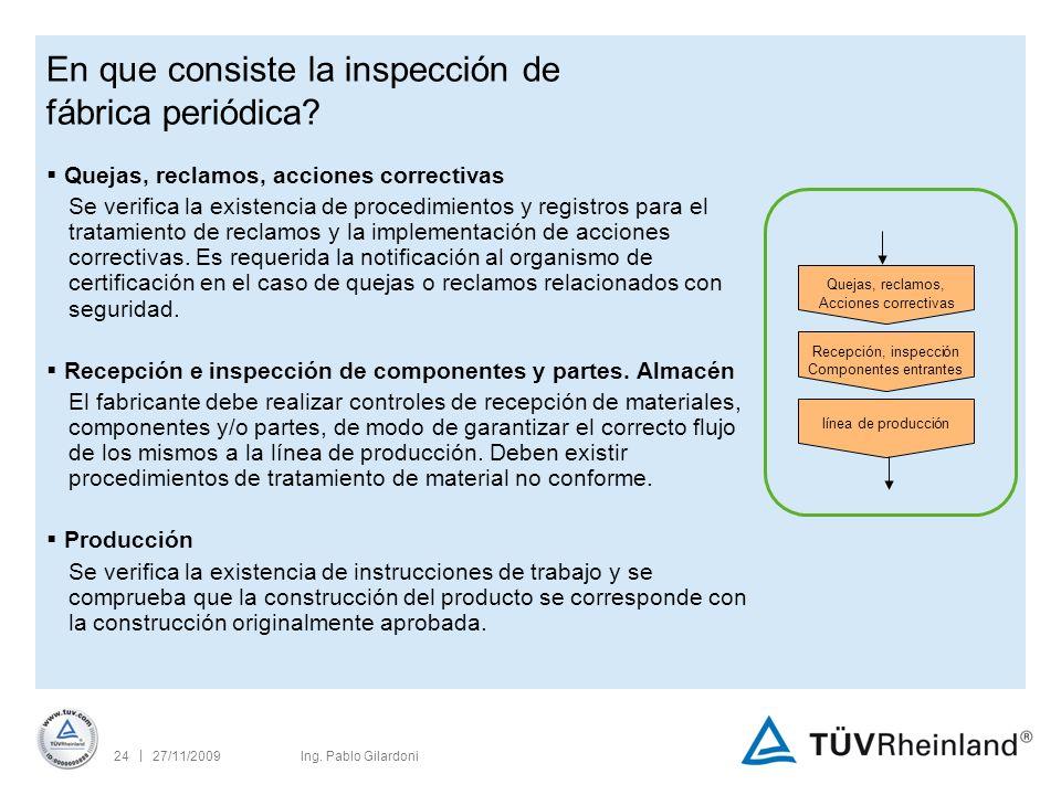 | 27/11/200924Ing. Pablo Gilardoni En que consiste la inspección de fábrica periódica.