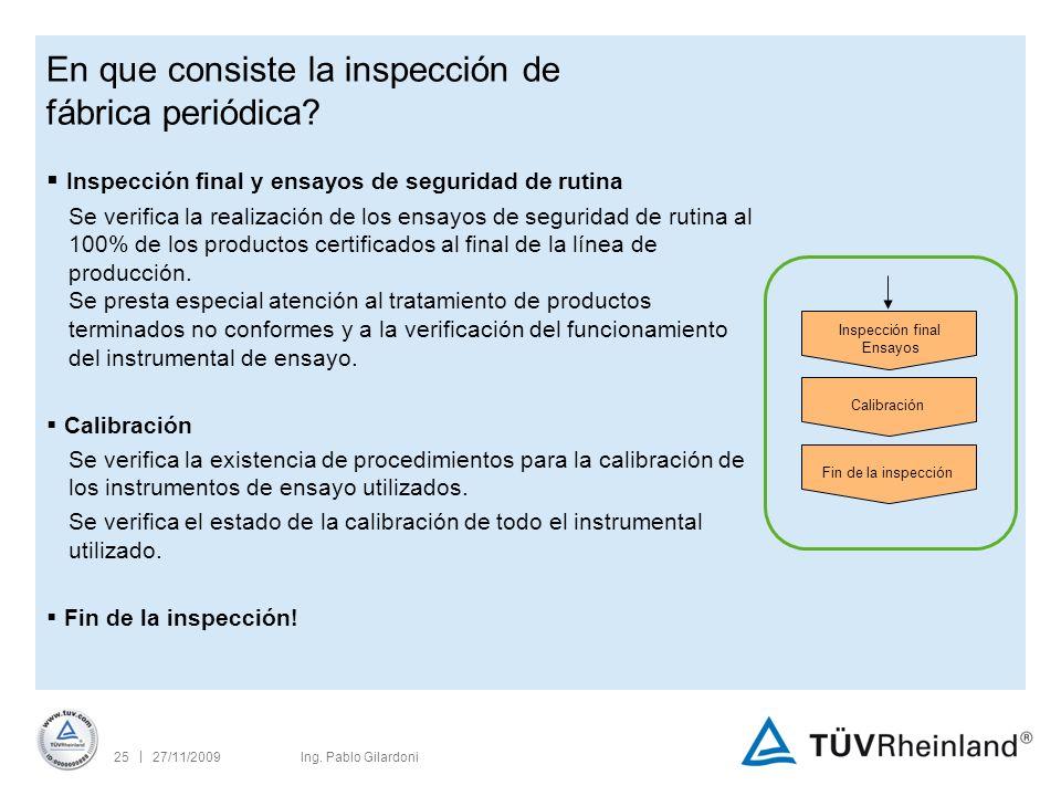 | 27/11/200925Ing. Pablo Gilardoni En que consiste la inspección de fábrica periódica.