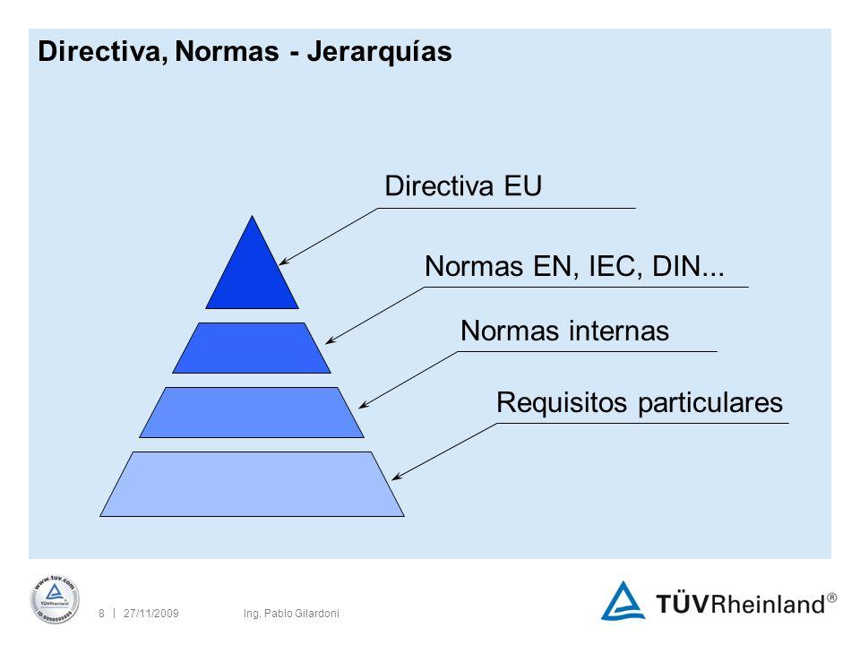 | 27/11/20098Ing. Pablo Gilardoni Directiva EU Normas EN, IEC, DIN...