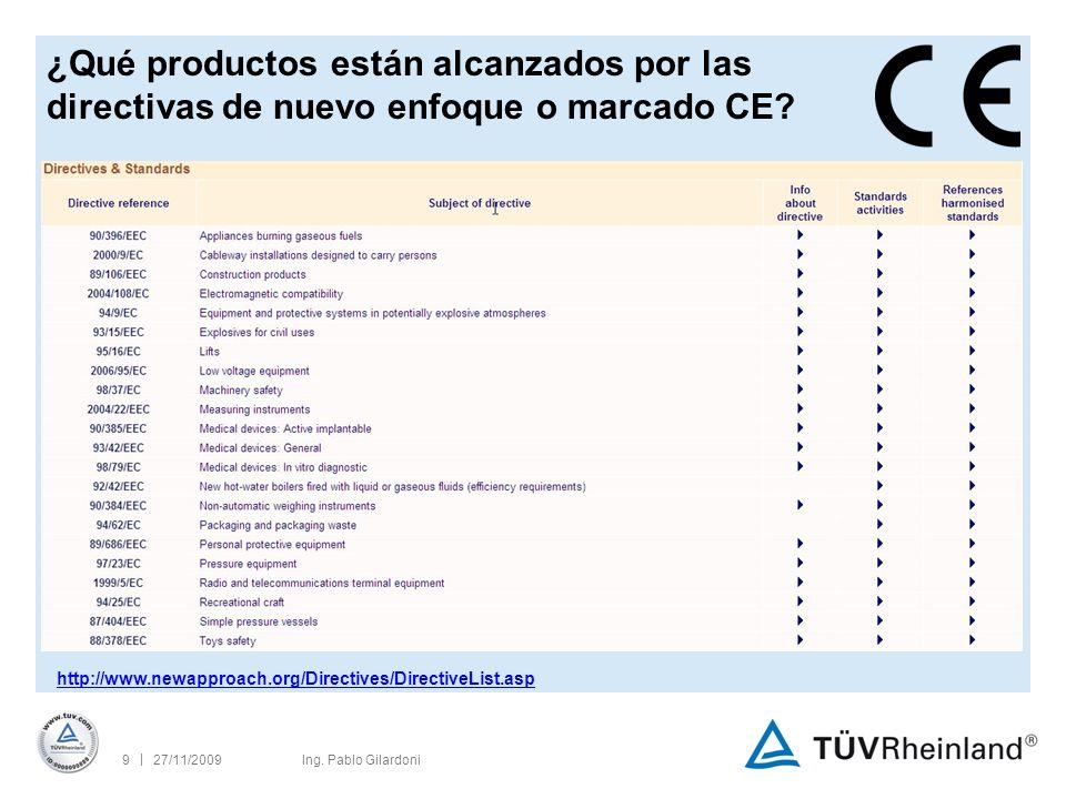 | 27/11/200920Ing.Pablo Gilardoni ¿Es suficiente el marcado CE.