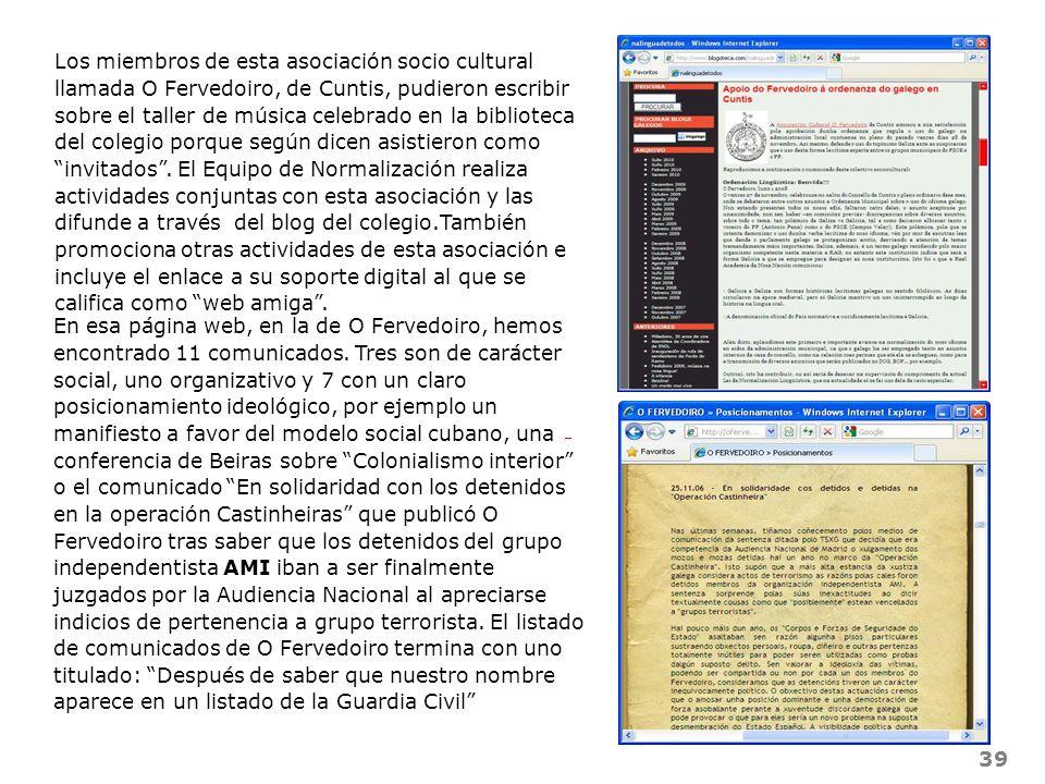 39 Los miembros de esta asociación socio cultural llamada O Fervedoiro, de Cuntis, pudieron escribir sobre el taller de música celebrado en la bibliot