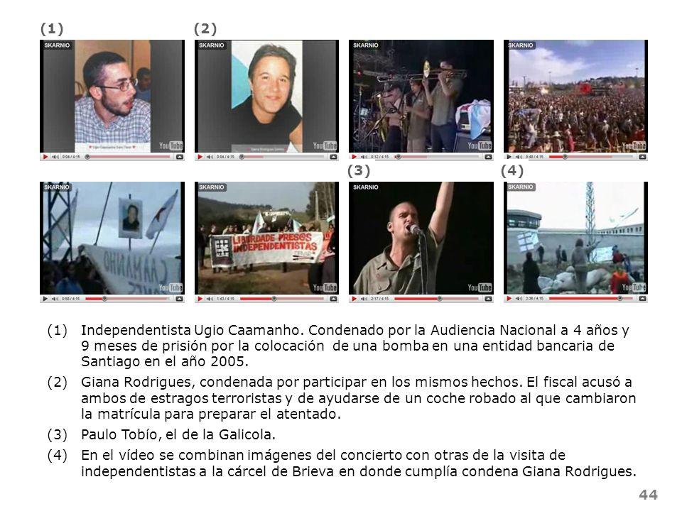 44 (1)Independentista Ugio Caamanho. Condenado por la Audiencia Nacional a 4 años y 9 meses de prisión por la colocación de una bomba en una entidad b
