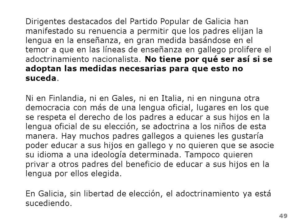 49 Dirigentes destacados del Partido Popular de Galicia han manifestado su renuencia a permitir que los padres elijan la lengua en la enseñanza, en gr