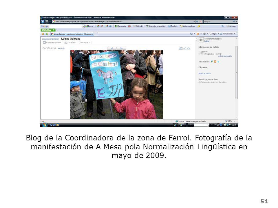 51 Blog de la Coordinadora de la zona de Ferrol. Fotografía de la manifestación de A Mesa pola Normalización Lingüística en mayo de 2009.