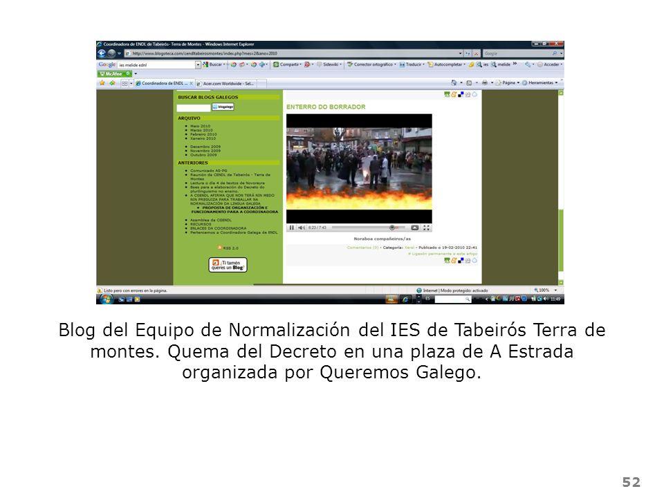 52 Blog del Equipo de Normalización del IES de Tabeirós Terra de montes. Quema del Decreto en una plaza de A Estrada organizada por Queremos Galego.