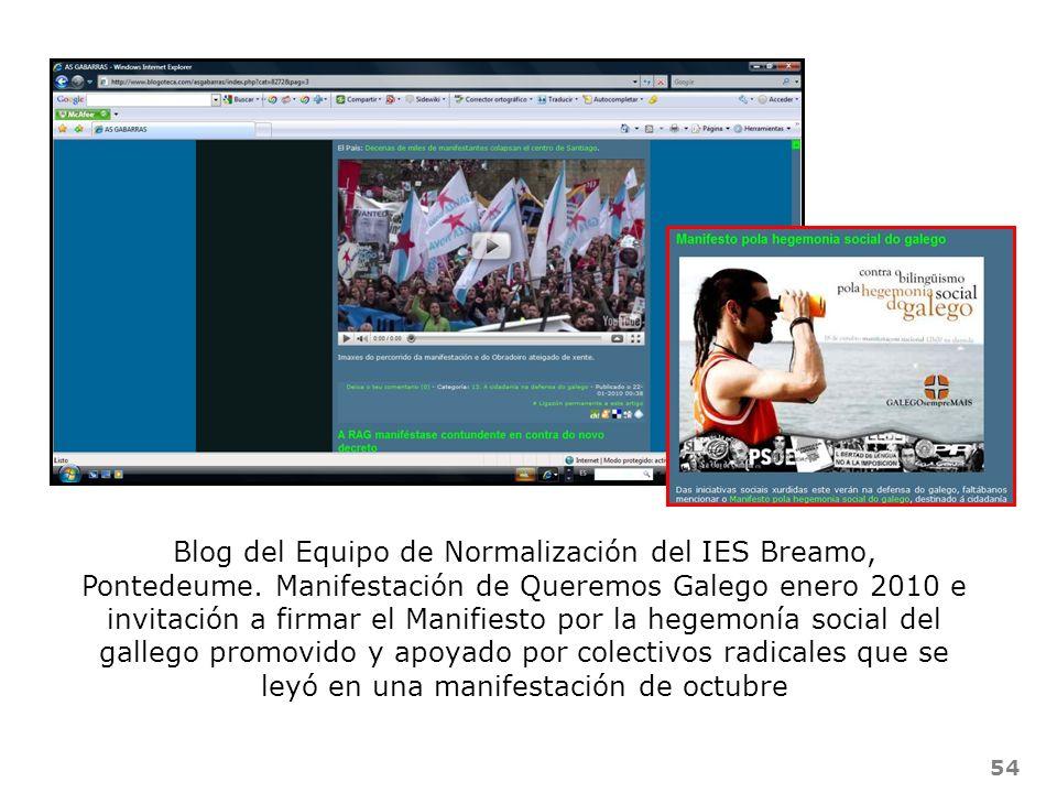 54 Blog del Equipo de Normalización del IES Breamo, Pontedeume. Manifestación de Queremos Galego enero 2010 e invitación a firmar el Manifiesto por la